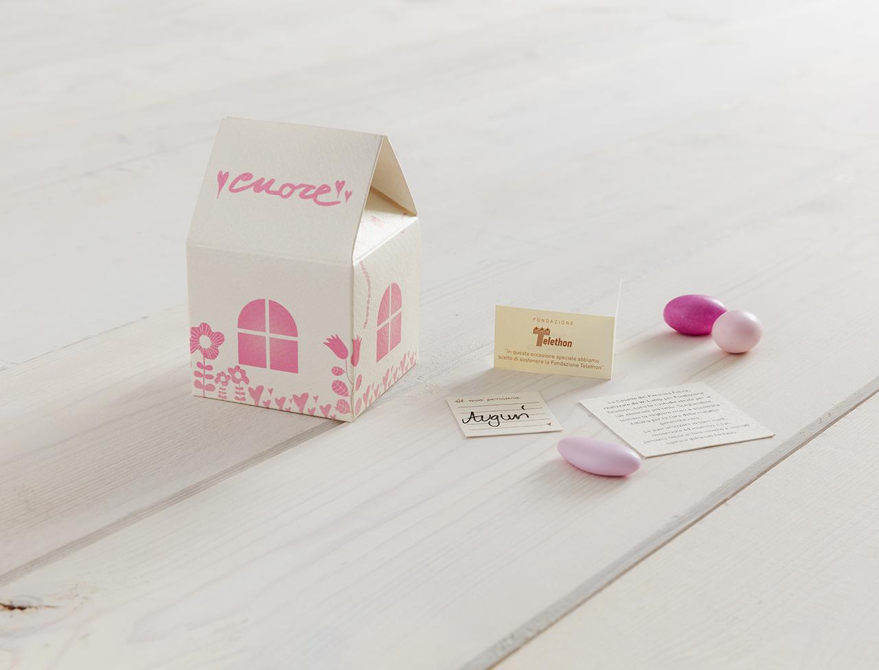 Casetta del pensiero felice bianco/rosa